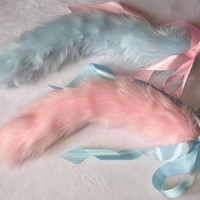 Indecisive Kitten Set: Pink & Blue Cat Kitten Play Tails