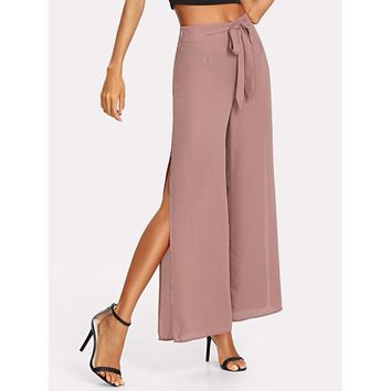 Self Belted Slit Wide Leg Pants