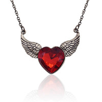Free Shipping European Stylish Red Rhinestone Antique Gold Plated Angel Wings Love Heart Necklace