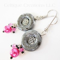 Handmade Celtic Earrings Pink Black and White Silver Knotwork Cluster