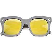 Retro Bold Square Flat Lens Mirrored Lens Sunglasses A100