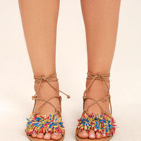 Steve Madden Swizzle Natural Multi Suede Leather Lace-Up Sandals