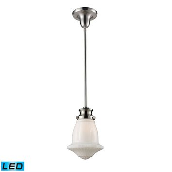 Schoolhouse 1-Light Mini Pendant in Satin Nickel with White Glass - Includes LED Bulb
