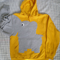 Elephant Trunk sleeve sweatshirt sweater jumper HOoDIE mens x large YELLOW