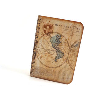 Mini Map Notebook - Travel Journal - Vintage Style Jotter - Travel Planner - Geography Notepad