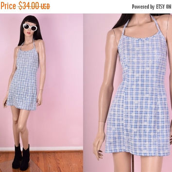 ON SALE 90s Plaid Daisy Print Mini Halter Dress