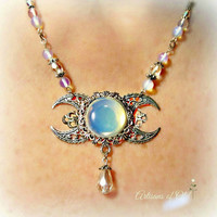 Triple Goddess Opalite Necklace Crescent Moon 2 Styles