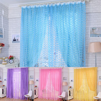 New Floral Rose Pattern Tulle Voile Window Screens Door Balcony Curtain Valance Voile Curtain 1MX2M For Bedroom Living Room