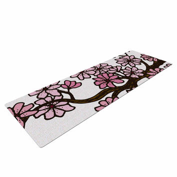"Art Love Passion ""Cherry Blossoms"" White Pink Yoga Mat"