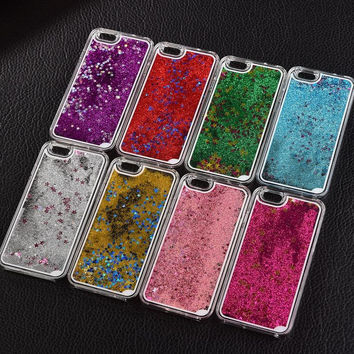 Liquid Glitter / Meteor / Sand / Sequins Colorful Dynamic Transparent Hard Mobile Phone Cases For iPhone4S 5 SE 6 6S 7Plus
