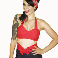 WINK Red Retro Bikini Top Pick Your Size by MySugarDoll on Etsy