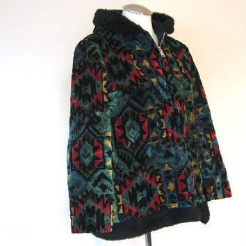 vintage 60s Coat / Carpet Coat / Boho Jacket Clothing / Tapestry Coat / Velvet Jacket / Jewel Tone Fabric / Womens Vintage Coat