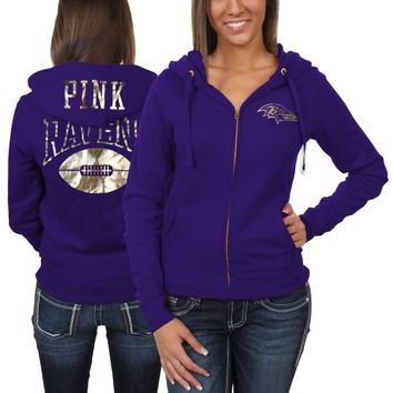 Victoria's Secret PINK Baltimore Ravens Ladies Bling Full Zip Hoodie - Purple