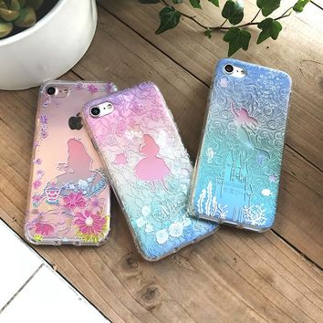Alice in Wonderland Mermaid Relief Airbag Case For Coque iPhone 6 6s 6plus 7 7plus 8 8 Plus Cases Capinha TPU Silicone funda