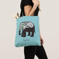 Paisley Elephant Big Love Cute Modern Turquoise Tote Bag