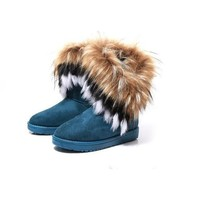 Generic Fashion New Women Autumn Winter Snow Boots Ankle Boots Warm Fur Shoes (women 38, Blue)