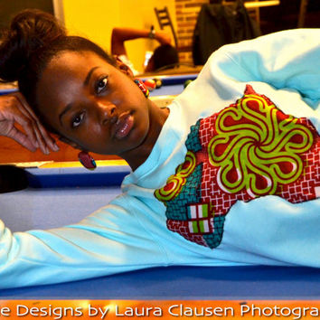 Women's Baby Blue and Green Ankara Crew Sweatshirt