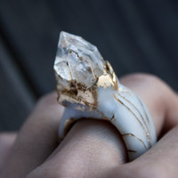 magic ring, Raw Crystal Ring, boho style, pyrite ring, Boho rings, golden color, Enamel jewelry, polymer clay ring, Art ring, snow queen