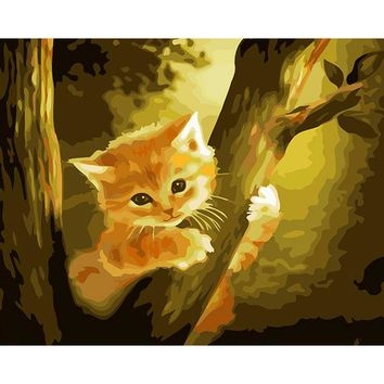 Frameless Picture Diy Oil Painting By Numbers Cat Trees Coloring By Numbers Wall Art Unique Gift For Home Decor 40x50cm Artwork