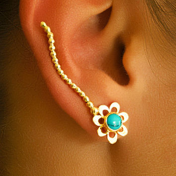 Gold Ear Cuff - Ear Climber - Climber Earrings - Gemstone Earrings - Turquoise Ear Cuff - Earcuff Jewelry (Code: G5)