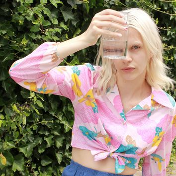 70s Floral Tie Crop Top / Large