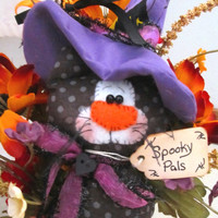 Halloween Pumpkin and Black Kitty Cat Decoration with Flowers- Witch Kitty Cat Decoration Floral Shelf Sitter Jack O Lantern and Black Kitty