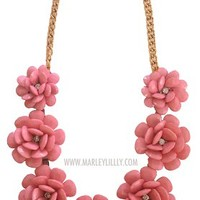 Pale Pink Rosette Statement Necklace