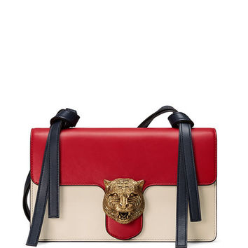 Gucci Animalier Leather Shoulder Bag, Red/White/Blue