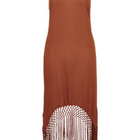 Fringe Hem Maxi Dress - Rust