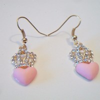 eBlueJay: Pink Heart Crown Princess Earrings Rhinestones Gold Tone Fashion Jewelry