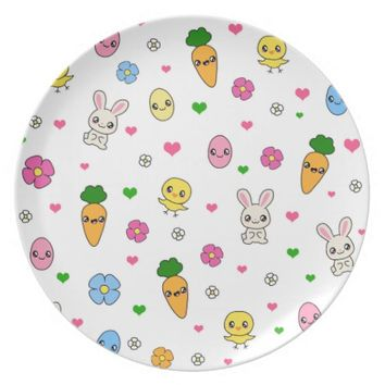 Easter Kawaii Pattern Dinner Plate