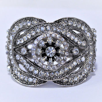 Clear Rhinestone Clamper Bracelet, In Antique Silver Tone, Statement Jewelry
