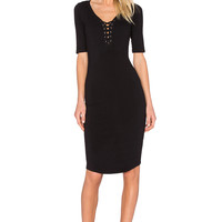 MONROW Jersey Lace Up Dress in Black