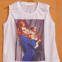 Lana Del Rey & Kitty Cay Cover Pop Punk Vintage Lady Women Fashion T shirt Muscle Crop Tank Top Size S M L
