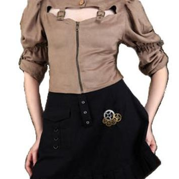 Ladies Steampunk High Collar Brown Blouse and Black Steampunk Short Skirt. Women's Victorian Outfit