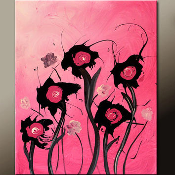 Abstract Art Canvas Painting 18x24 Contemporary Flower Garden Art Paintings by Destiny Womack - dWo - In The Breeze
