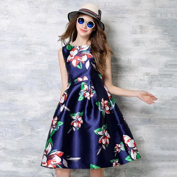 Summer Dresses Feminino 2017 O-Neck Floral Printed Vestido de Festa High Waist Sleeveless Women's Clothing Blue A-Line Robe N618