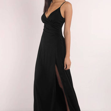 High You Are Satin Slit Maxi Dress