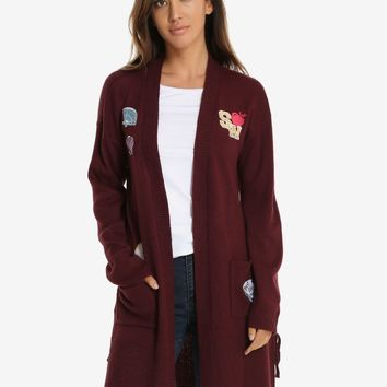 Licensed cool Disney Princess Long Line Patch Open Cardigan Sweater Box Lunch Exclusive S & M