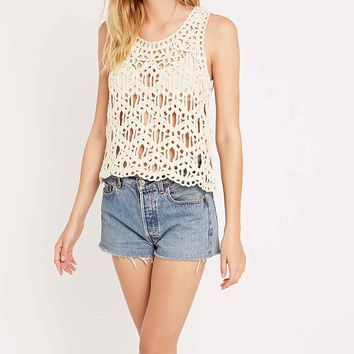 Blu Pepper Chunky Crochet Tank in Ivory - Urban Outfitters