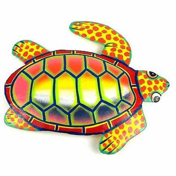 Hand Painted Metal Turtle Sunset Design - Caribbean Craft