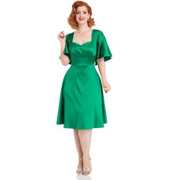Mariah Green Satin Cape Dress