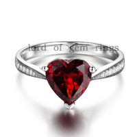 Heart Red Garnet Emagement Ring Pave Diamond Wedding 14K White Gold 8mm