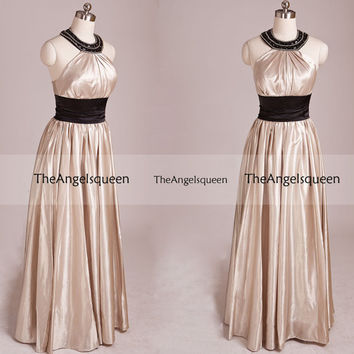 Fashion Gold Halter Beading Empire Line Floor-length Party Dress,Bridesmaid dresses,cocktail dresses,evening dresses