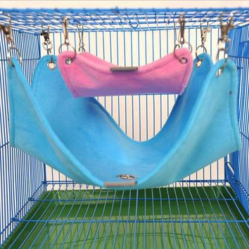 Warm Plush Cloth Hamster Chinchilla Hammock Guinea Pig Rabbit Hanging Bed Cage Accessories S M L