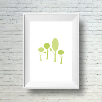 Minimalist Art Print, Modern Wall Art, Green Nature Print, Home Decor Print, Printable Tree Art