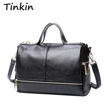 Tinkin New Arrival Handbag Retro Motorcycle Messenger Bag Rivet Leather  Laptop Bag Women Shoulder Bag