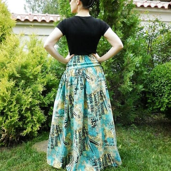 Green Text Printed Multicolored Long Maxi Party Loose Extravagant Skirt / Evening Solid Cotton Skirt / High Waist Skirt by moShic S003