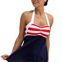 Sailor Girl Swim Dress Tankini Sold as Top, Bottom or Set