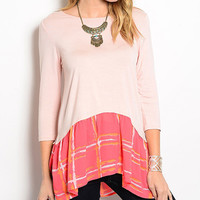 Dusty Pink & Coral Sidetail Top | zulily
